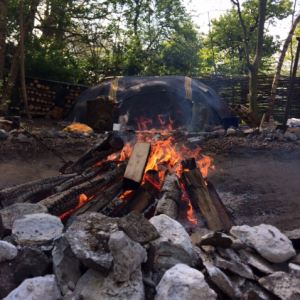 vuur stenen cirkel hut bomen ceremonie
