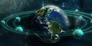 wereldbol met fictive planeten eromheen
